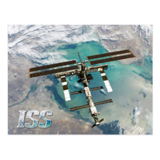 Internationale Weltraumstation (ISS) und Erde Postkarte