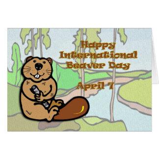 Internationaler Biber-Tag am 7. April Grußkarte