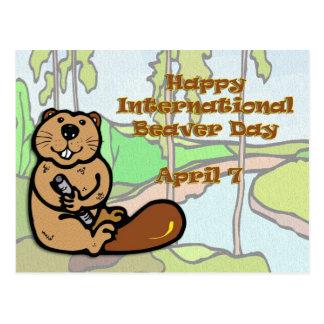 Internationaler Biber-Tag am 7. April Postkarte