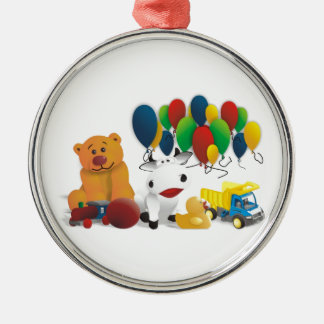 Internationaler Kindertag Rundes Silberfarbenes Ornament