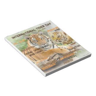 Internationaler Tiger-Tag am 29. Juli Notizblock