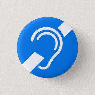 Internationales Symbol für taubes Weiß auf Blau Runder Button 3,2 Cm