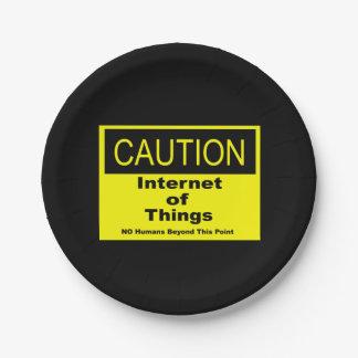 Internet des Sachen IoT Vorsicht-Warnzeichens Pappteller