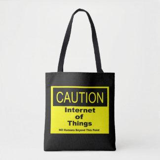 Internet des Sachen IoT Vorsicht-Warnzeichens Tasche