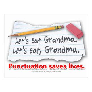 Interpunktion rettet die Leben Postkarte