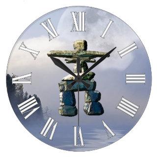 Inuit Inukshuk u. Wildnis-Mond-Kunst-Uhr Große Wanduhr