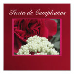 Invitación - Fiesta de Cumpleaños - Rosa roja Quadratische 13,3 Cm Einladungskarte