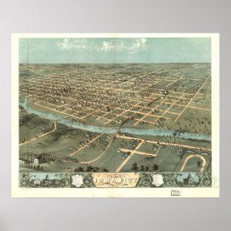 Iowa City Iowa 1868 antike panoramische Karte Poster