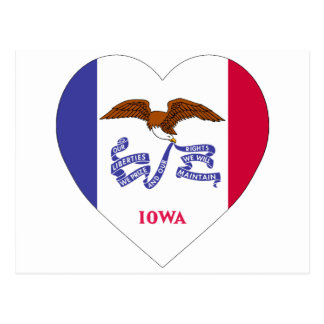 Iowa-Flaggen-Herz Postkarte