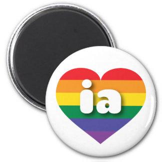 Iowa-Gay Prideregenbogen-Stolzherz - MiniLiebe Runder Magnet 5,1 Cm