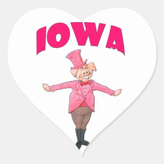 Iowa-Schwein Herz-Aufkleber
