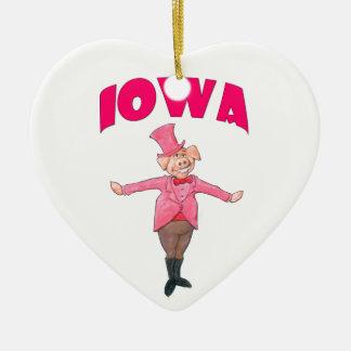 Iowa-Schwein Keramik Herz-Ornament