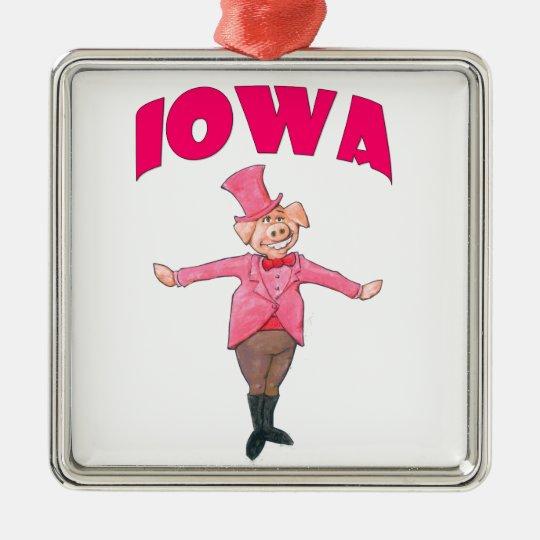 Iowa-Schwein Quadratisches Silberfarbenes Ornament