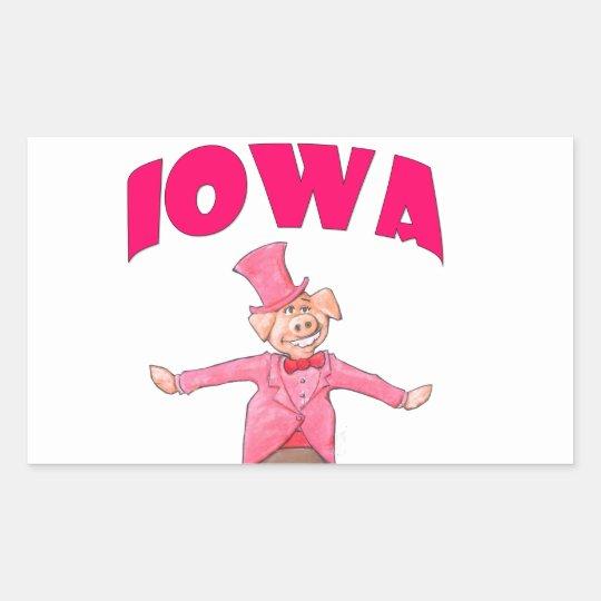 Iowa-Schwein Rechteckiger Aufkleber