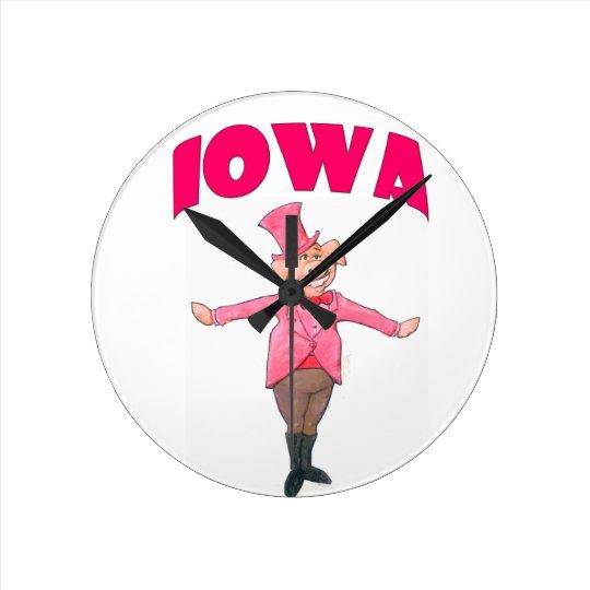 Iowa-Schwein Runde Wanduhr