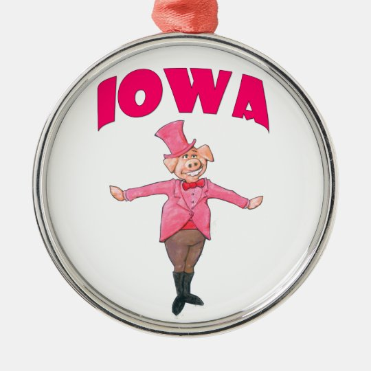 Iowa-Schwein Rundes Silberfarbenes Ornament