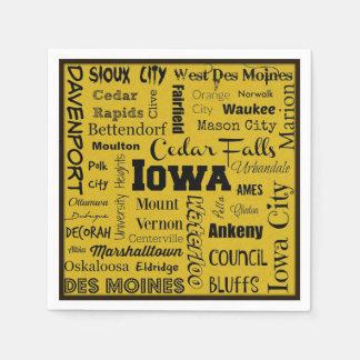 Iowa-Stadttypographieservietten Servietten
