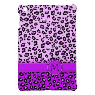 Ipad Monogramm des Leoparddruckes lila schwarzes Hüllen Für iPad Mini