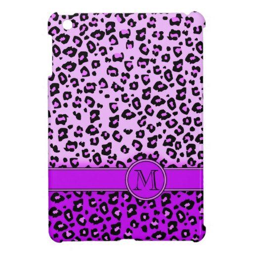 Ipad Monogramm des Leoparddruckes lila schwarzes M iPad Mini Hüllen