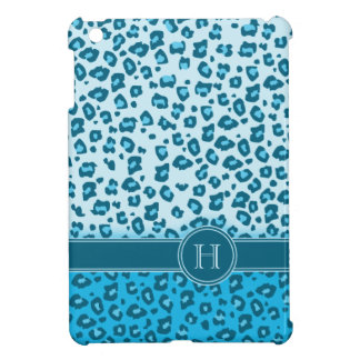 Ipad Monogramm des Leopardtierdruckes blaues Minif Etui Fürs iPad Mini