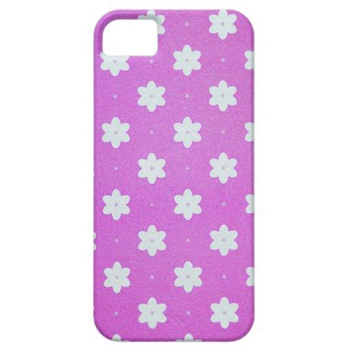 iphone4- Fallrosa mit weißen Blumen iPhone 5 Etui