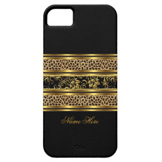 iPhone 5 eleganter nobler Goldschwarz-Leopard mit iPhone 5 Schutzhüllen