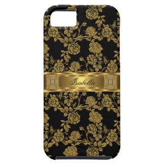 iPhone 5 eleganter nobler schwarzer Golddamast mit Schutzhülle Fürs iPhone 5