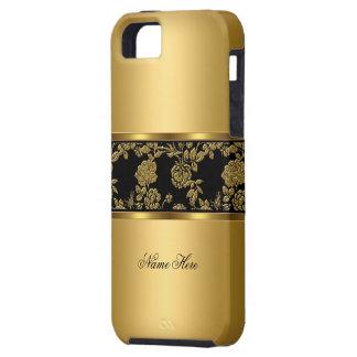 iPhone 5 elegantes nobles Goldschwarzes mit Blumen Etui Fürs iPhone 5