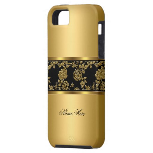 iPhone 5 elegantes nobles Goldschwarzes mit Blumen iPhone 5 Schutzhüllen