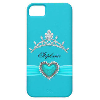 iPhone 5 Prinzessin Silver Tiara Teal Bejeweled Etui Fürs iPhone 5