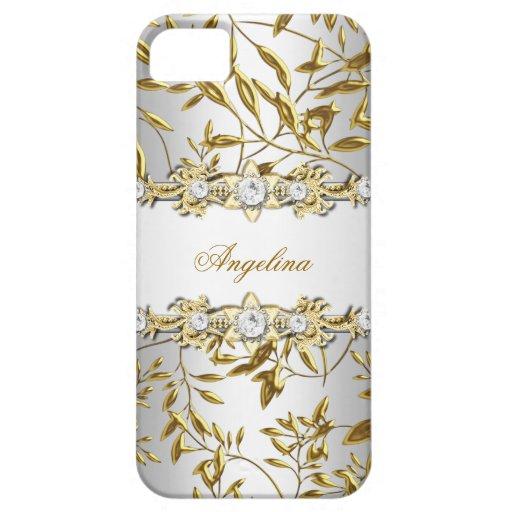 iPhone 5 silbernes weißes Golddiamant-Juwel-Bild Etui Fürs iPhone 5