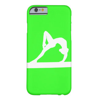 iPhone 6 Fall Gymnast-Silhouette-Weiß auf Grün Barely There iPhone 6 Hülle