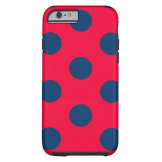 iPhone 6 starker Fall: Tupfen (rot u. blau) Tough iPhone 6 Hülle