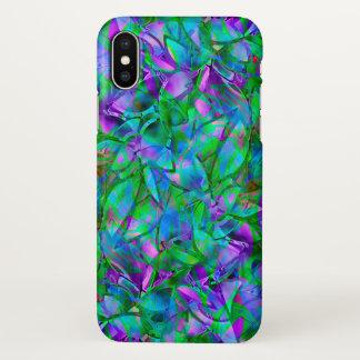 iPhone X Fall-abstraktes beflecktes mit Blumenglas iPhone X Hülle