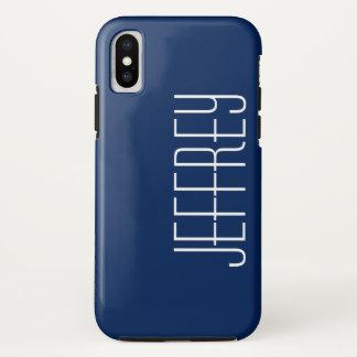 iPhone X Fall, dunkelblau und Weiß, personalisiert iPhone X Hülle