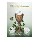 Iren-erste Kommunionseinladung mit Kleeblättern 12,7 X 17,8 Cm Einladungskarte