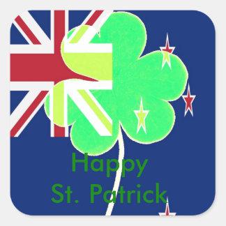 Iren-Neuseeland-Flaggen-Kleeblatt-Klee St Patrick Quadratischer Aufkleber