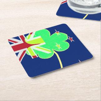 Iren-Neuseeland-Flaggen-Kleeblatt-Klee St Patrick Rechteckiger Pappuntersetzer