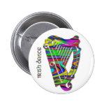 Iren-Tanz-Regenbogen färbt Harfe von Irland-Knopf Runder Button 5,1 Cm