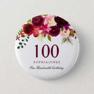 Irgendein BlumenBoho 100. Geburtstags-Party Runder Button 5,1 Cm