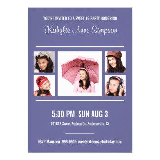 Irgendein Farbbonbon 16 Geburtstags-Party mit Foto Personalisierte Einladungskarte