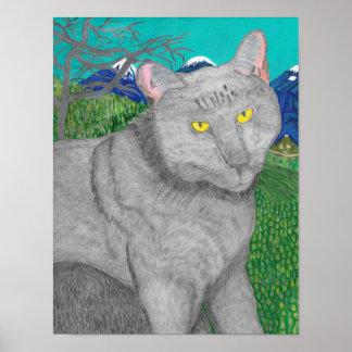 Irina die Katze und die Ansicht von Berg Baldy Poster