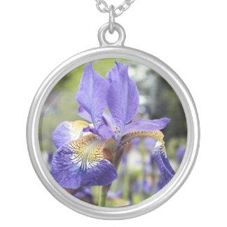Iris-Blumengeburts-Monatshalskette Versilberte Kette