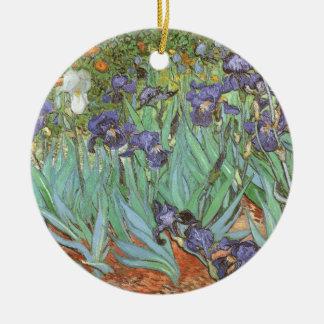 Iris durch Vincent van Gogh, Vintage Blumen-Kunst Keramik Ornament