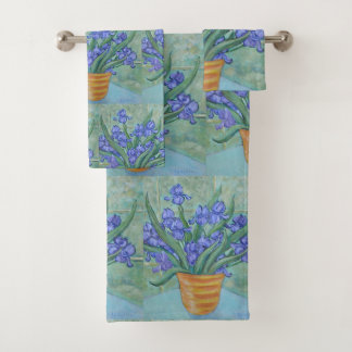 Iris in einem Vase Badhandtuch Set