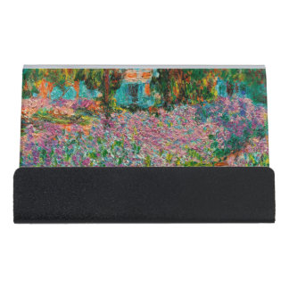 Iris in Monets Garten bei Giverny durch Claude Schreibtisch-Visitenkartenhalter