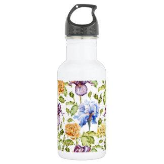 Iris und Rosen Watercolorblumenmuster Edelstahlflasche