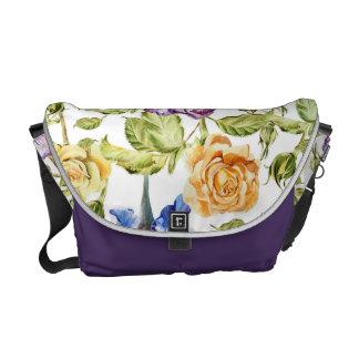 Iris und Rosen Watercolorblumenmuster Kuriertasche