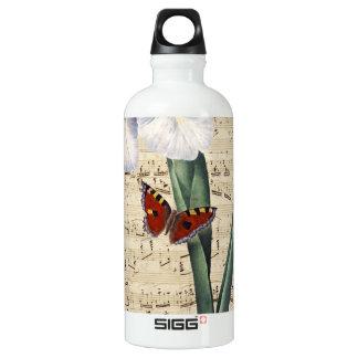 Iris- und Schmetterlingsmusik Aluminiumwasserflasche