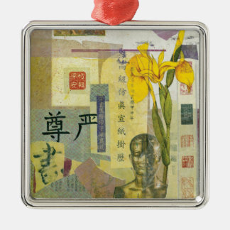 Iris-Würde Quadratisches Silberfarbenes Ornament